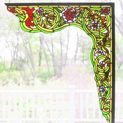 Meyda - 22 Inch W X 23.5 Inch H Serpent Right Corner Bracket Window Windows - Color Theme: Beige Flame Green Purple/Blue Ha