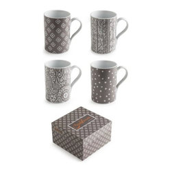 Rosanna - Casablanca Mugs- Set of 4, By Rosanna - Showcase a hearty fall meal or harvest celebration with the soulful Moroccan woodblock prints of Casablanca.