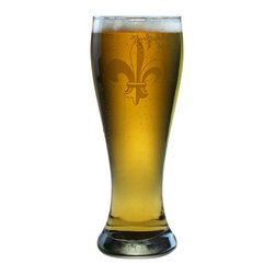 Susquehanna Glass - Fleur De Lis Weizenbier Pilsner, 23oz, S/4 - Each 23 ounce pilsner glass features a sand etched fleur de lis design. Dishwasher safe. Sold as a set of four. Made and decorated in the USA.