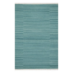 """Loloi Rugs - Loloi Rugs Anzio Collection - Aqua, 3'-6"""" x 5'-6"""" - The Anzio Collection, an all-wool, solid-colored flat weave from India, offers a transitional, tonal look in a choice of: aqua, apple, pink, denim, charcoal, moss, purple and blue. Anzio is updated with the addition of fringe, which is making a comeback in new rugs."""