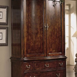 "American Drew 791-270R Armoire Cherry Grove - Armoire - American Drew Cherry Grove Collection 791-270RFeatures:2 Wraparound Doors1 Fixed Shelf2 Adj. Shelves2 Tray DrawersClothes Rod2 Shirt PartitionsSliding Back Panel4 DrawersThis Price Includes:Armoire BaseArmoire DeckItem:Weight:Dimensions:Armoire397 lbs52"" W X 24"" D X 84"" HArmoire Base155 lbs50"" W X 23"" D X 28"" HArmoire Deck242 lbs52"" W X 24"" D X 56"" HManufacturer's Materials:Crafted from cherry veneers & other hardwood veneersselect hardwood solidswood product & simulated wood components"