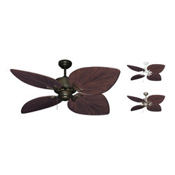 Outdoor Ceiling Fans (Damp Rated) - The Bombay with 50 inch sweep blades tropical ceiling fan offers the beautiful leaf design in a damp location fan. Oversized ABS, palm leaf shaped blades dominate this fan's appearance. The Bombay is available in Antique Bronze, Oil Rubbed Bronze, and Pure White.