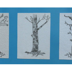 Three Trees (Original) by Kayla Domaszek - Created passionately within a week, these three combos of water pencil paintings have been combined into one piece of art.  Perfectly sets the scene for any room or business.