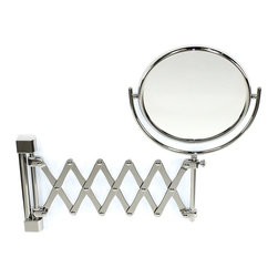 Windisch - Wall Mounted Brass Extendable Double Face 3x, 5x, 5xop, or 7xop Magnifying Mirro - Double face magnifying mirror (one side regular, one side magnifying).