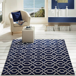 ~5' ft. x 7' ft. Royal Blue Contemporary Area Rug, Hand-tufted - This Rug Measures Approximate Size(Width X Length):~5 X 7' ft. (152 cm x 214 cm) / No Assembly Required