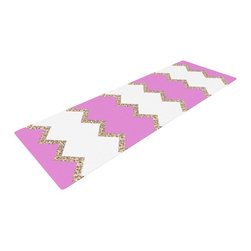 "KESS InHouse - Monika Strigel ""Avalon Pink Chevron"" Rose White Yoga Mat - Release your inner yogi in style with these artistically unique yoga exercise mats. These mats allow you to stretch and pose freely and comfortably as they are 72"" x 24""! Made of a durable, textured non-slip backing foam, these 1/4"" thick mats will cushion your body to allow you to child's pose and more during your workout routine. Carry your lightweight mat in a polyester blend bag with an adjustable shoulder strap for easy travel and clean up. These yoga exercise mats can be cleaned with a swipe of a towel and mild soap."