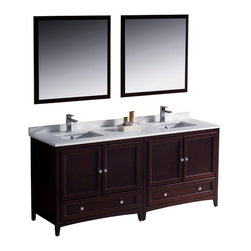 "Fresca - Fresca Oxford 72"" Mahogany Double Sink Vanity - Dimensions of vanity:  72""W x 20.38""D x 32.63""H. Dimensions of mirror:  31.88""W x 31.88""H. Materials:  Solid wood frame, MDF panels, quartz stone countertop, ceramic undermount sinks w/ overflow. Single hole faucet mounts. 4 soft close doors. 2 soft close dovetail drawers. Seamless countertop w/ matching backsplash. P-traps, faucets, pop-up drains and installation hardware included. Blending clean lines with classic wood, the Fresca Oxford traditional bathroom vanity is a must-have for modern and traditional bathrooms alike.  The vanity frame itself features solid wood in a stunning mahogany finish that's sure to stand out in any bathroom and match all interiors.   Available in many different finishes and configurations."