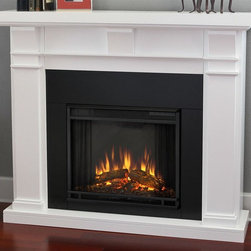 Real Flame - Electric Fireplace in White Finish - Includes wooden mantel, firebox, screen, and remote control. Distinct craftsman appeal. Three arched corbels supporting substantial top. Plugs into any standard outlet. 1400 watt heater. Rated over 4700 BTUs per hour. Programmable thermostat with display in fahrenheit or celsius. Ultra bright LED technology with five brightness settings. Digital readout display with up to nine hours timed shut off. Dynamic ember effect. UL and ISTA 3A certified. Warranty: Ninety days on mantel and one year on electric firebox. Made from solid wood, veneered MDF and powder coated steel. Assembly required. 49.9 in. W x 12.7 in. D x 42 in. H (108.5 lbs.)This design is sure to compliment a variety of decor, from classic to contemporary.