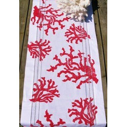 Red Coral Linen Table Runner - This bright red coral table runner provides lots of color to any outdoor table.