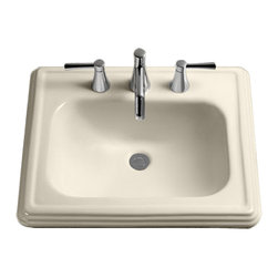 """Toto - Toto LT531.4 Sedona Beige Promenade Self Rimming Lavatory 4"""" Centers ADA - The Toto LT531.4#12 is a Rectagular Self-Rimming Lavatory, with Sculpted Traditional Lines in the Promenade Suite From Toto USA. The Toto LT531.4#12 Measures 28"""" x 22"""", Faucet Mounts on 4"""" Center and comes in Sedonia Beige Finish"""
