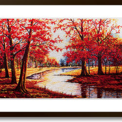 Art of Silk - Red Maples (Small) - Hand Designed Silk Art, Silk Embroidery - Silk embroidery art was invented in China over 2,500 years ago. This high quality silk art is created using embroidery techniques developed from the world famous Suzhou style of silk embroidery. Each piece contains over 100,000 stitches on average.