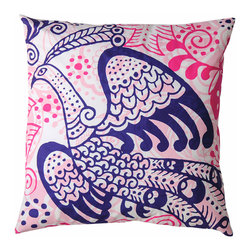 "KOKO - Wild Pillow, Bird of Paradise, 20"" x 20"" - Won't this fabulous feathered friend make a bright addition to the covey on your couch? Let the bright pop of pink and blue on imported cotton express your flights of fancy."
