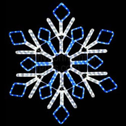 "EnvironmentalLights - Two-Color 32"" LED Snowflake Mot127 - This big, beautiful 32"" LED Snowflake (Two-Color) adds sparkle to your holiday decorations. Bright and colorful. 32 inches wide by 32 inches long. Energy-efficient: only 21.6 Watts consumed. Cord is about 70 inches long. Easy installation using suction cup hooks or ties (see companion parts nearby) or other fasteners. Premium UV-LED rope light. Top quality long-life LEDs, spaced 1 inch apart. Indoor/Outdoor. Dims well on the dimmers listed as companion parts. All-weather powder coated steel frame."