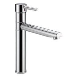 "Delta - Delta 1159LF Chrome Trinsic Trinsic Straight Spout Kitchen Faucet - Product Features:  Fully covered under Delta s limited lifetime warranty All-brass faucet body and handle construction Superior finishing process - faucet finish covered under lifetime warranty The design was inspired by the sleek elegance of modern European design A sleek sophistication in the kitchen for both style and functionality Spout swivels 360 degrees to allow for unobstructed sink access  Product Technologies:  Eco Friendly: Through a number of technologies and innovations, Delta's Eco Friendly faucets achieve the impossible: A faucet that feels like more water, while actually conserving water. There are many advantages to this beyond helping protect our nation's water resources. First, Delta's Eco Friendly faucets splash less; you won't have to wipe your counters as much. Second, they use less hot water, preserving your hot water supply and reducing associated water-heating costs. Third, you will feel a little less guilty leaving the water running for longer periods.  Product Specifications:  Overall Height: 12-5/8"" (measured from counter top to highest point of faucet) Spout Height: 7"" (measured from counter top to faucet outlet) Spout Reach: 8-1/4"" (measured from center of faucet base to center of faucet outlet) Number of installation holes required: 1 1.8 gallons-per-minute flow rate Installs onto decks up to 1-7/8"" thick 1 handle included ADA compliant Low lead compliant - complies with federal and state regulations for lead content Designed to easily connect to standard U.S. plumbing supply bibs Extra secure mounting assembly All necessary mounting hardware included  About Delta:"