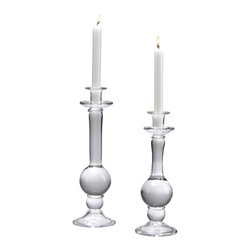Kathy Kuo Home - Cristina Modern Elegant Large Clear Glass Taper Candleholder - Proof that simplicity can be fabulous, this small glass candlestick delivers large style points.  An orb base and stand crafted in the Italian style creates a classic look, perfect for traditional and contemporary spaces.