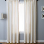 "Blindsgalore Signature Drapery Panel: Zante - Adding texture and interest, the Zante drapery panel features raised vertical lines (""pin tucks"") that cascade vertically down the length of the drapery.  The neutral panels maintain the same color on the front and reverse sides.  Constructed of a medium-weight faux linen fabric, this light filtering panel is at home in both contemporary and traditonal decors."
