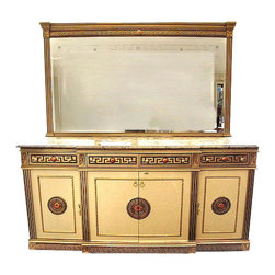 7Ft Wide Gold/Cream Neoclassical Buffet Sideboard Server w/ Marble Top w/ Mirror - Gold/cream finish