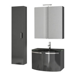 ACF - 28 Inch Glossy Anthracite Bathroom Vanity Set - Designed for the contemporary style bathroom, this bathroom vanity set was made in Italy by ACF.
