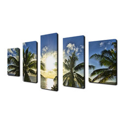 Ready2HangArt - Ready2hangart Chris Doherty 'Niue Palms Sunset' 5-piece Canvas Wall Art - The 'Niue Palms Sunset' canvas art depicts lush green palms gleaming in a clear blue sky with shimmering rays settling through. This canvas features a tropical theme and is gallery-wrapped canvas for a contemporary look.