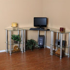 RTA Home & Office - Clear Glass Corner Computer Desk with Extention table - This modern looking clear tempered glass corner computer desk has everything you need. With its great design you can put this anywhere in your room to save space. With one side of this desk only needing 40 inches of wall space this desk can fit in those areas where you are trying to clear a door or window. And with (2) 20 inch modular extension tables you have all the work space you will need. Whether you have 2 printers or a printer and a scanner there's plenty of room to make it all look great!. Desk dimensions: 58 in. W x 58 in. D x 29.5 in. H