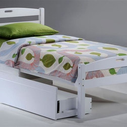 Night & Day Furniture - Sesame Twin Bed in White w Storage Drawer - Bed includes head/foot panels, posts, rails, slats, storage drawer. Two magic words opened a cave full of treasure. Tiny, tasty, golden seed forever associated with big time enchantment. Charmed and extraordinary adventures are virtually guaranteed. 100% Malaysian Rubberwood construction. Warranty: 5 years. White finish. 42 in. W x 80.6 in. D x 34.9 in. HTake care of your kids' needs for beds, bunks and storage with our Zest Bedroom Collection for Night and Day. Smart quality at extraordinary value. We have gone to great lengths to design and engineer this complete line to keep your cost down and your pleasure up.