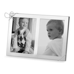 Vera Wang - Vera Wang Wedgwood Double 5-Inch x 7-Inch Frame - Silver plated double frame is topped off with a cute bow. A simple yet whimsical touch to your favorite pictures.