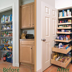Pantry Pull Out Shelves - Create an organized pantry with custom pull out shelves in single-height, double-height and triple-height varieties to suit your pantry's contents.
