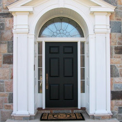 HeartWood Traditional Doors - Custom 6-panel door with sidelites and transom with leaded glass.