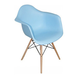 2 Eiffel Wood Arm Chair, Blue - Bring a relaxed sense of style to your favorite living spaces with these eiffel armchairs. The retro simplicity of these classic white eiffel base accent chairs will instantly enhance the modernity of your room. Each of these contemporary chairs is made from durable molded plastic with an ergonomically-shaped and curved seat. The legs are wooden and include eiffel shape steel hardware in black as well as black plastic tips to protect sensitive flooring.