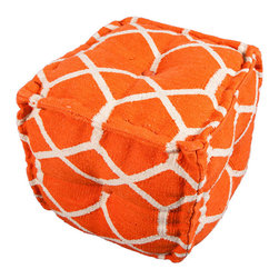Jaipur - Cadiz Pouf, Orange - You can get it all — cool color, bold pattern and extra seating — with this pouf. It's hand woven from 100 percent cotton and stitched together in a soft cube for casually modern appeal. Store two under a console or scatter a few around your media room for those times when you have more guests than chairs — or just want to put your feet up in comfort and style.