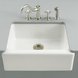 KOHLER - KOHLER K-6573-5U-0 Alcott Apron-Front, Undercounter Kitchen Sink with Five-Hole - KOHLER K-6573-5U-0 Alcott Apron-Front, Undercounter Kitchen Sink with Five-Hole Oversized Faucet Drilling in WhiteCrafted of durable fireclay, the Alcott apron kitchen sink is reminiscent of a turn-of-the-century pantry sink. This single-basin sink is intended for undercounter installation and features a five-hole oversized faucet drilling.Please see our Delivery Notes for Freight Shipments for products that are oversized and/or are too heavy to ship UPS ground. KOHLER K-6573-5U-0 Alcott Apron-Front, Undercounter Kitchen Sink with Five-Hole Oversized Faucet Drilling in White, Features:• Reminiscent of a turn-of-the century pantry sink