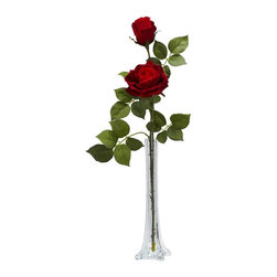 Nearly Natural - Roses w Tall Bud Vase Silk Flower Arrangement - The very definition of elegance. Shows different stages of bloom. A classy radiance that is unequaled. Construction Material: Polyester material, Iron wire, Resin, Glass. 9 in. W x 7 in. D x 24 in. H ( 1 lbs. ). Pot Size: 3 in. W x 12 in.HThe very definition of elegance, the Rose stands head and shoulders above all other flowers. And standing tall and elegant is what this Rose does best. A single stem splits into two blooms - one full, one budding - to give a classy radiance that is unequaled. With lush leaves and a tall vase w/ faux water, this makes the perfect gift for that someone special.