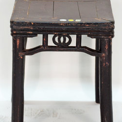 Antique Chinese Square Brown Lacquer Table - Antique Chinese Square Brown Lacquer Table