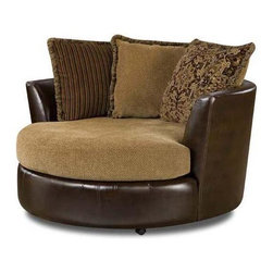 Chelsea Home - Round Swivel Chair - Includes toss pillows. Chair in tote saddle cover. Pillows in cozy burlap cover. Seating comfort: Medium. Reversible seat cushions. Sinuous springs to provide no sag seating. 1.5 Dacron wrapped foam cores. Nailed, stapled and corner blocked frames to provide strength and durability. Fabric contains: 38% pu, 37% pvc, 25% cotton/100% polyester. Made from hardwoods and plywood. Made in USA. No assembly required. 58 in. Dia. x 38 in. H (100 lbs.)