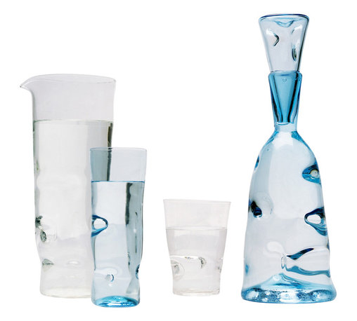 Esque - Dent Collection Cup, Clear, Large - Make an impression with this handmade art glass tumbler. High-quality glass in clear or light blue is handblown and impressed with small dents for extra texture and one-of-a-kind appeal. Choose a piece to complement your own set — or get the whole collection.