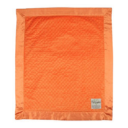 "Dot Velour Baby Blanket, Orange - These velour baby blankets, embossed with a raised dot texture, have become a My Blankee best seller. A celebrity among baby shower gifts, the Dot Blanket also comes in a selection of over twenty-one eye catching colors ranging from soft pastels to bright and vibrant hues, all lined with a matching 3"" satin ruffled border to make this a luxury baby blanket with personality."