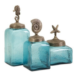 "IMAX - Sea Life Canisters- Set of 3 - Set of 3 canisters, blue colored glass with sea life toppers Item Dimensions: (9-13.75-10.5""h x 6-4.75-4.75""w x 6-4.75-4.75"")"