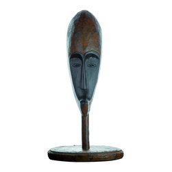 Casa de Arti - Home Decor Statuary Decorative Fine Art African Mask On Stand Statue - Beautiful display to add to your home and office decor at an amazing price!