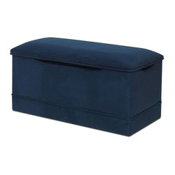 Komfy Kings - Komfy Kings Microsuede Deluxe Toy Box - 16953 - Shop for Childrens Toy Boxes and Storage from Hayneedle.com! With its rich and luxurious fabric exterior the Komfy Kings Microsuede Deluxe Toy Box can complement any room in your home. Used as a toy box storage bench or extra seat in your living room this beautiful piece will definitely find a suitable place in your home. The lid and sides are covered in textured chenille or microfiber suede. Your child can use the spacious interior for toys now and extra blankets and pillows when he or she grows older. The padded seat also makes a wonderful bench during story time or while putting on socks and shoes. Recommended ages 2-8 years. Dimensions: 33.5L x 16.5W x 16.75H inches. The toy box frame is constructed from hardwood for durability and long-lasting strength. Safety hinges prevent the lid from slamming shut on little fingers and slots on the front and two sides make it easy to grasp the lid while opening. Choose from a variety of solid colors and fabric options to suit the style of your child's nursery bedroom or playroom.