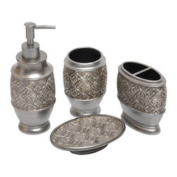 None - Kasbar Silver 4-piece Bath Accessory Set - The Kasbar 4-piece bath accessory set with a silver finish Moroccan pattern is an elegant addition to any bathroom. Made of polyresin, this set includes a tumbler, soap dish, toothbrush holder and lotion pump.