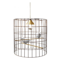Mary Ohl Pendant - This wonderful bird cage chandelier is unique and fun, and more like an art piece than a it is a light. Oh, and there is no newspaper in the bottom required.