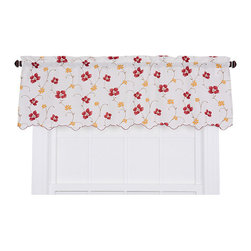 Ellis Curtain - Zoe Wine 48 x 15-Inch Valance - - Ellis Curtain Zoe Crushed Taffeta Open Floral Print Valance - Add a special flair and elegant appearance to your home with the Zoe Crushed Taffeta Valance. The neutral base color and soft floral or vine print is designed to complement the other item within your home decor without over powering it. Made with 100-percent polyester crushed taffeta fabric creates a durable valance that has an amazing draping effect and easy maintenance. The crushed taffeta design also adds a subtle textured look and diffuses daylight softly. Each valance is constructed with a 1.5-Inch rod pocket, decorative 1.5-Inch header and a beautiful embroidered bottom hem. Width is measured overall 48-Inch, length is measured overall 15-Inch from the seam above the rod pocket to bottom of valance. For wider windows or a fuller look simply add multiple valances together for a customized look and fit   - A drapery rod, which is not included, is required to complete installation   - This item is dry clean only   - The lining fabric material is Polyester Ellis Curtain - 730462112729
