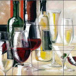 The Tile Mural Store (USA) - Tile Mural - Decanted Ii - Kitchen Backsplash Ideas - This beautiful artwork by Malenda Trick has been digitally reproduced for tiles and depicts a nice wine scene.  Our decorative tiles with wine are perfect to use for your kitchen backsplash tile project. A wine tile mural adds elegance and interest to your kitchen wall tile area and makes a wonderful kitchen backsplash idea. Pictures of wine on tiles and images of wines bottles on tiles and wine glasses on tiles is timeless and these decorative tiles of wine blend with any decor. Your kitchen will come to life with a tile mural featuring wine.