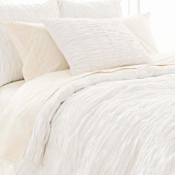 Pine Cone Hill - PCH Smocked White Duvet Cover - Loaded with texture, the Smocked duvet cover boasts beloved dressmaker detailing in its ruched facade. The soft and chic PCH bed linen by PCH offers a versatile palette in pure white. Available in twin, full/queen and king; 100% cotton; Button closure; Designed by Pine Cone Hill, an Annie Selke company; Machine wash