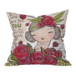 DENY Designs - Cori Dantini Dear Sweet Girl Throw Pillow, 20x20x6 - Whether for yourself — or the beautiful flower in your life — this pillow will add sweetness and femininity to any sofa, bench or bed. Sentimental words and soft colors are printed front and back on woven polyester.