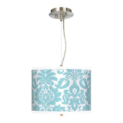 """Stacy Garcia - Traditional Stacy Garcia Landscape Florence 13 1/2"""" Wide Pendant Light - Get stylish with this drum shade pendant chandelier! It features a bold design from internationally renowned hospitality designer Stacy Garcia printed on high-quality canvas. Known for her use of color and pattern Stacy's exclusive line of shades makes a wonderfully colorful and unique design statement. A white acrylic diffuser at the bottom of the shade prevents glare. Includes extra cable and cord so you can vary the hanging height. Brushed steel finish. Exclusive Stacy Garcia giclee shade. 1/8"""" thick acrylic diffuser. Takes two 75 watt bulbs (not included). 32"""" pre-set hanging height. Maximum hanging height of 10 feet. Shade is 10"""" high and 13 1/2"""" wide. U.S. Patent # 7347593.  Brushed steel finish.   Exclusive Stacy Garcia giclee shade.   1/8"""" thick acrylic diffuser.   Takes two 75 watt bulbs (not included).   Maximum hanging height of 10 feet.  Shade is 10"""" high and 13 1/2"""" wide."""