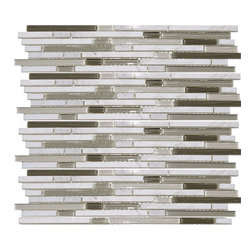 Spirited Glass - Spirited II Stone & Glass Mixed Liner Mosaics, Moonstone, 40 Sheets/8 Cartons (3 - Stacked sticks are one of the hottest trends for walls and backsplashes right now.  Very thin, linear pieces of glass and/or natural stone are creatively arranged and mounted on a mesh sheet for ease of installation. The Spirited II Glass and Stone series consists of three varieties of mosaics--all glass (clear & frosted combo), glass and stone combo, or all natural stone.