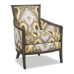 Sam Moore - Sam Moore Kamea Exposed Wood Chair - Escalan Citrine Multicolor - 4512.21/ESCALA - Shop for Living Room Chairs from Hayneedle.com! With its modified barrel shape and vivid pattern the Sam Moore Kamea Exposed Wood Chair - Escalan Citrine gets noticed. Comfort abounds in the deluxe seat cushion tight back and perfectly placed arms while the oversized pattern on the fabric upholstery tailored welt trim and exposed patina-finished wood frame add style.About Sam MooreSince 1940 Sam Moore's hand-crafted upholstered furniture has offered extraordinary quality comfort and style. This Bedford Virginia-based company proudly crafts its products right here in the USA. From classic to transitional to contemporary styles Sam Moore takes time with every detail making sure each piece is something you'll appreciate in your home.