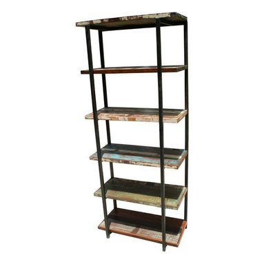 Mexicali Iron Bookshelf - The Mexicali Iron Bookshelf, made of 100% hand forged iron and a solid recycled wood top. This bookshelf would be right at home in a dorm, study or home office. Sophisticated yet durable. 5 shelves to store books and collectibles and open from All sides make this bookcase perfect for any space.