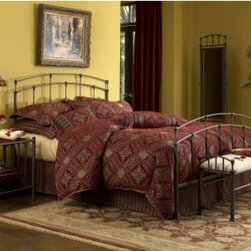 Fenton Metal Bed - Simplicity is the best kind of elegance with the Fenton Metal Bed from Fashion Bed Group. It features a slightly arched headboard and footboard with vertical straight rods connected by round finials. It's available in your choice of sizes and finishes and you can order the complete bed or just the headboard. Option to choose Headboard (Only) or Complete Bed includes: Headboard Footboard and Frame. Bed DimensionsTwin: 80L x 39.25W x 49.75H inchesFull: 80L x 54.25W x 45.6H inchesQueen: 85L x 61.25W x 49.6H inchesKing: 85L x 77.25W x 49.6H inchesAbout Fashion Bed GroupFashion Bed Group is a Leggett and Platt Company known for its innovative fashion beds daybeds futons bunk beds bed frames and bedding support. Created in 1991 Fashion Bed Group is a large consolidation of three leading bed manufacturers. Its beds are manufactured of genuine brass plated brass cast zinc cast aluminum steel iron wood wicker and rattan. Fashion Bed Group's products are distributed throughout North America from warehouses located in Chicago Los Angeles Houston Toronto and Ennis Texas.